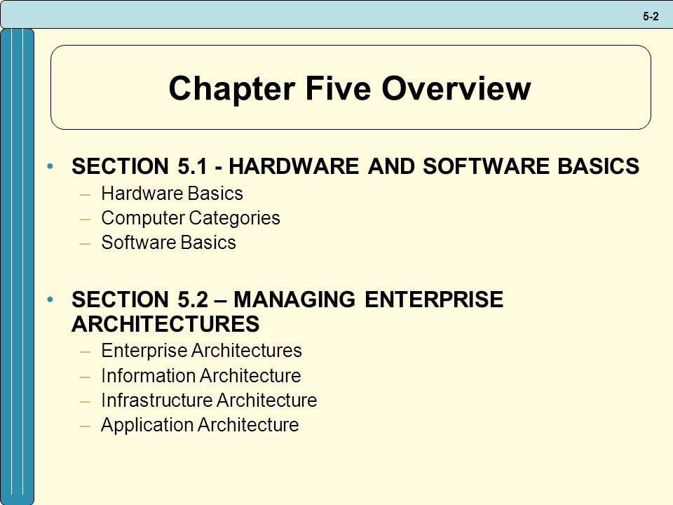 Chapter Five Overview SECTION 5.1 - HARDWARE AND SOFTWARE BASICS