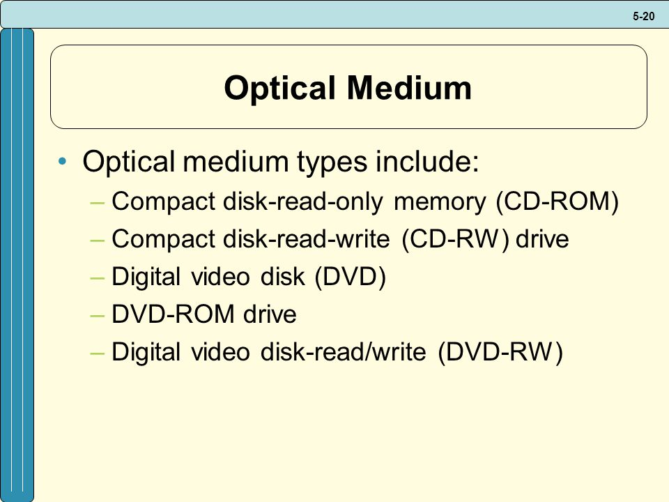 Optical Medium Optical medium types include: