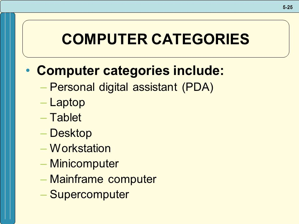 COMPUTER CATEGORIES Computer categories include: