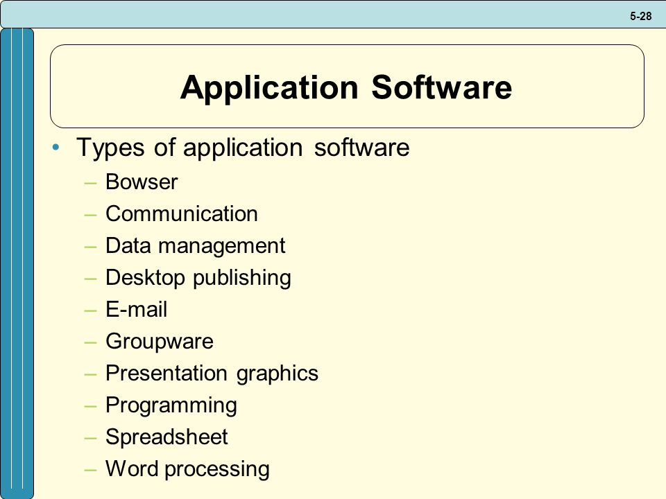 Application Software Types of application software Bowser