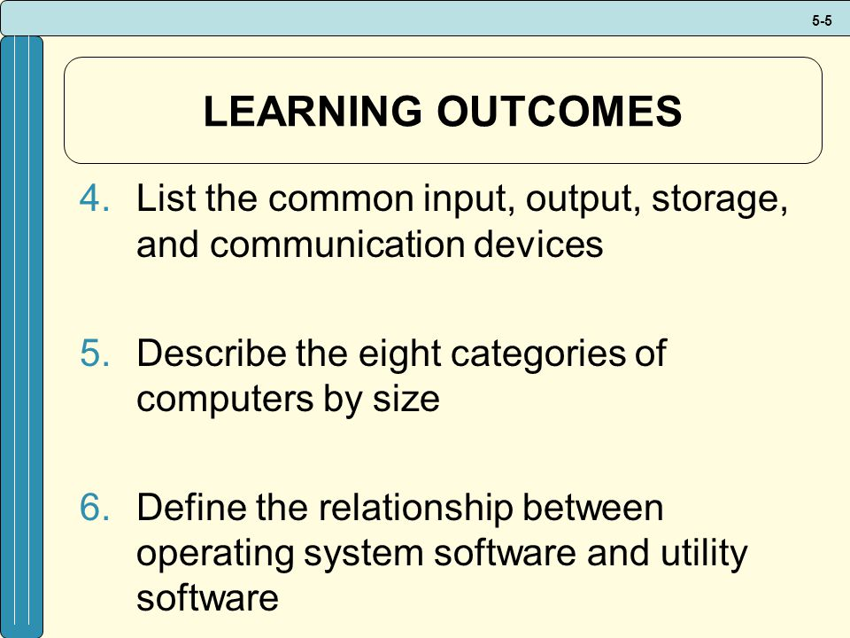 LEARNING OUTCOMES List the common input, output, storage, and communication devices. Describe the eight categories of computers by size.