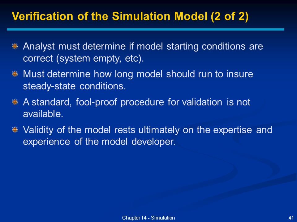 Verification of the Simulation Model (2 of 2)