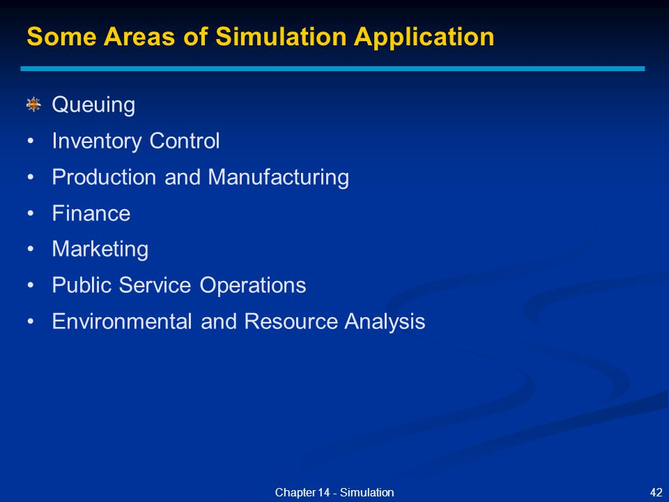 Some Areas of Simulation Application