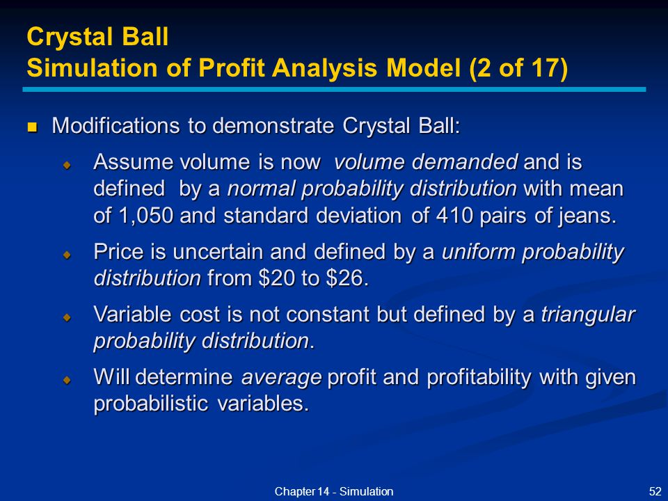 Simulation of Profit Analysis Model (2 of 17)