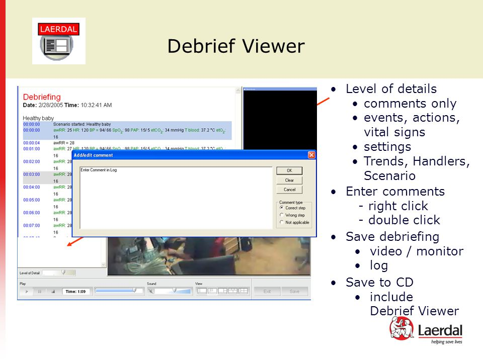 Debrief Viewer Level of details comments only