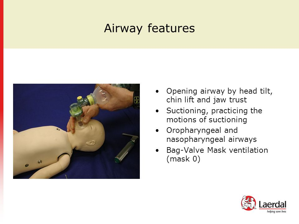 Airway features Opening airway by head tilt, chin lift and jaw trust
