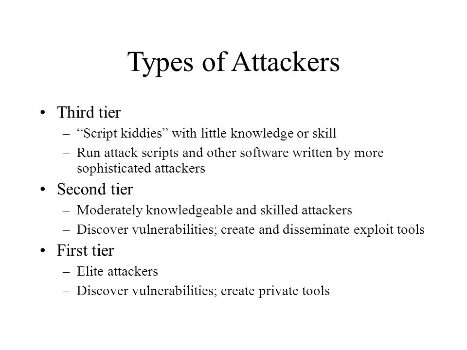 Types of Attackers Third tier Second tier First tier