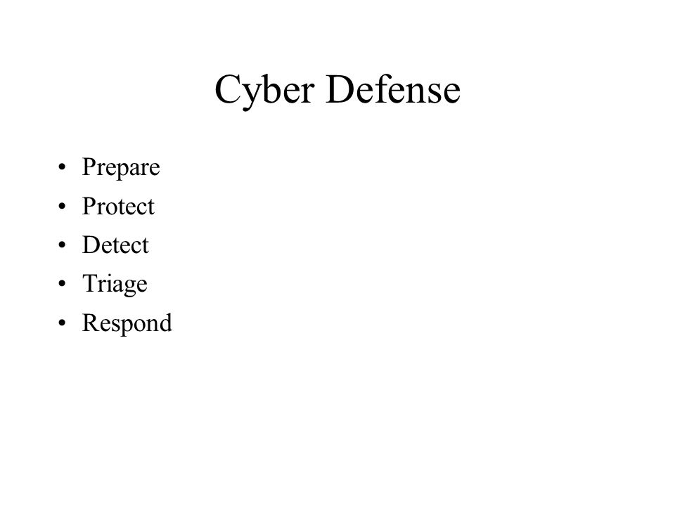 Cyber Defense Prepare Protect Detect Triage Respond