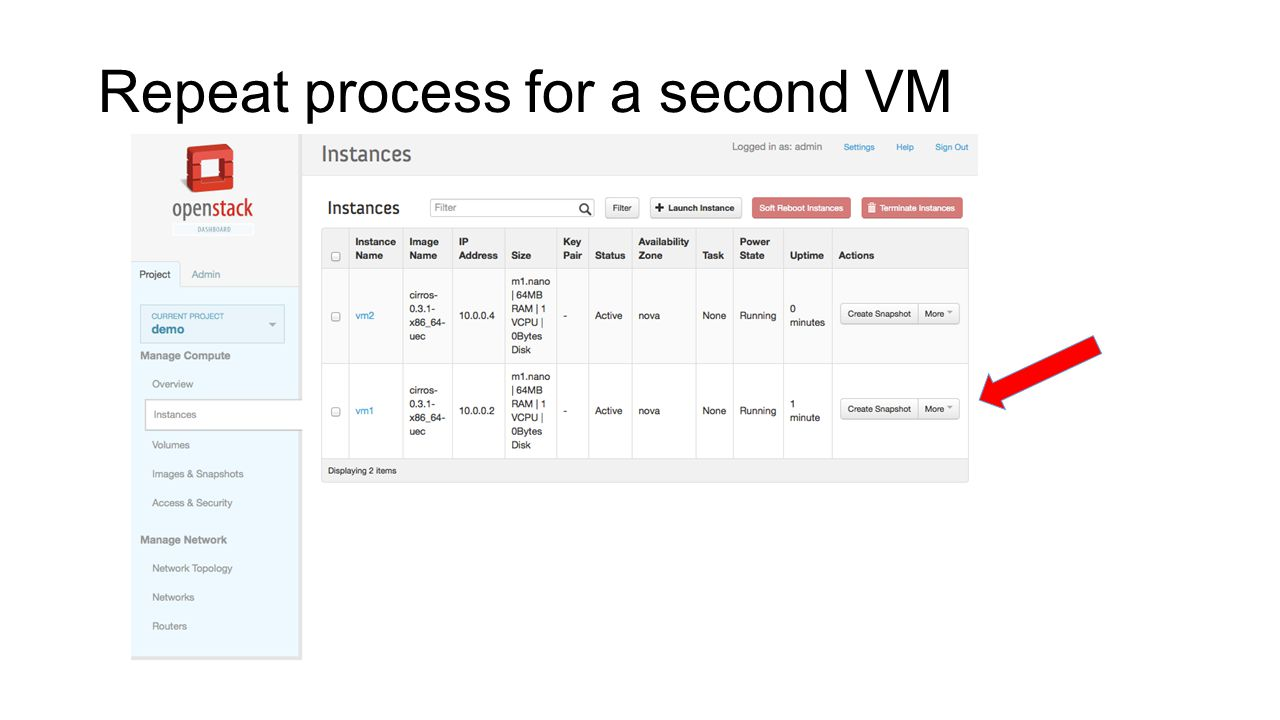 Repeat process for a second VM