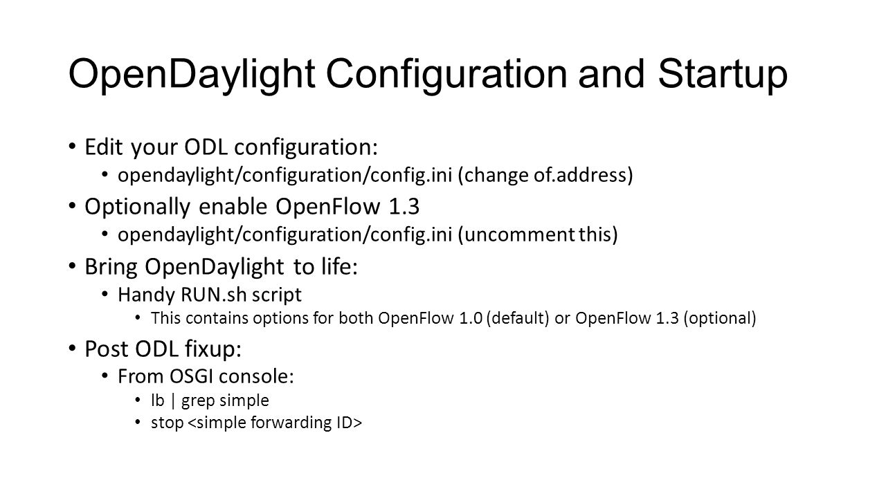 OpenDaylight Configuration and Startup
