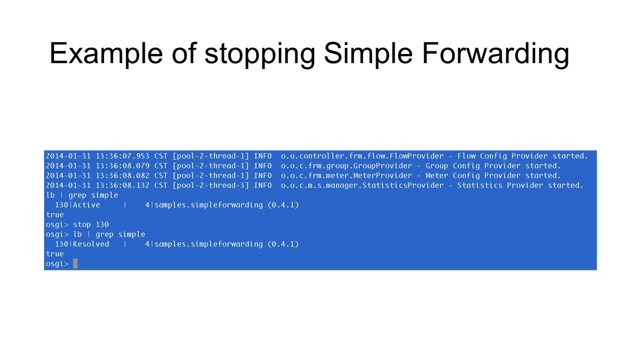 Example of stopping Simple Forwarding