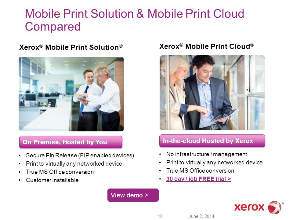 Mobile Print Solution & Mobile Print Cloud Compared