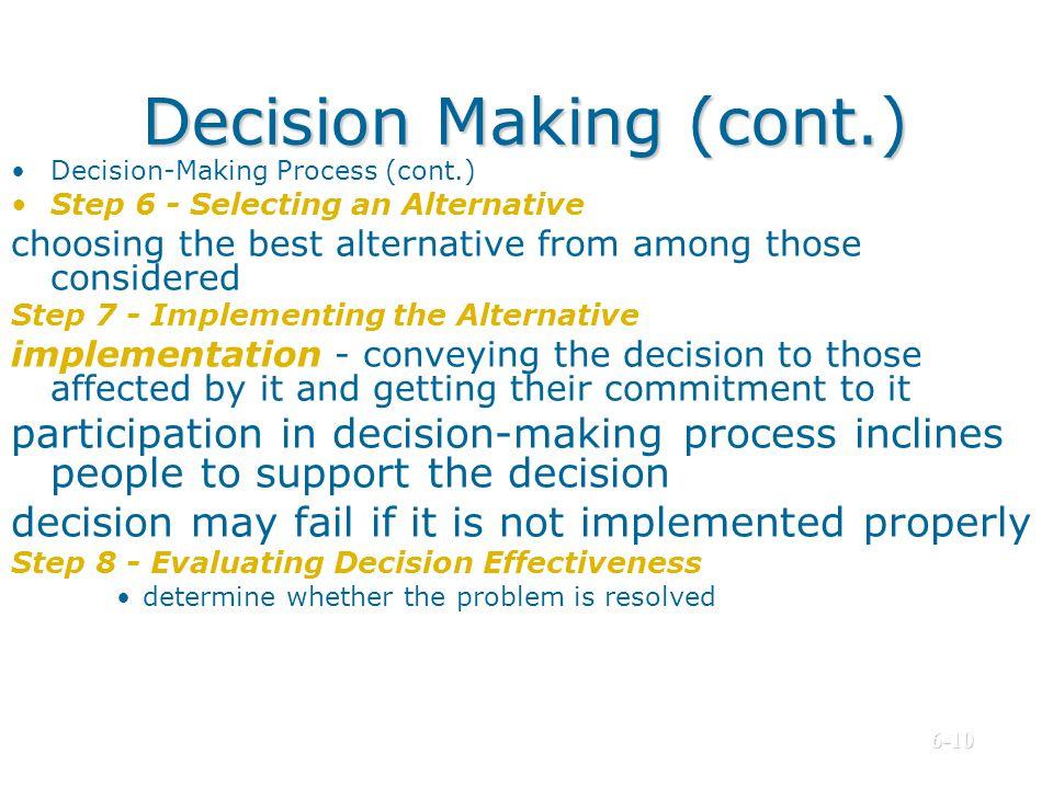 Decision Making (cont.)
