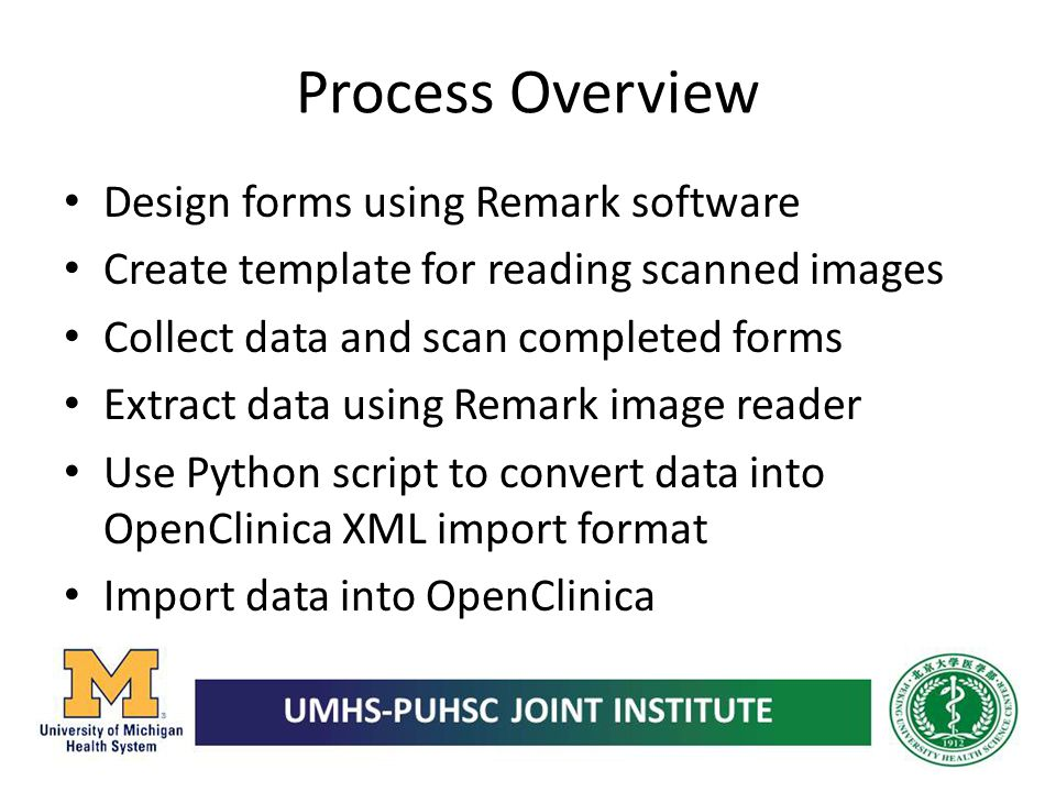 Process Overview Design forms using Remark software