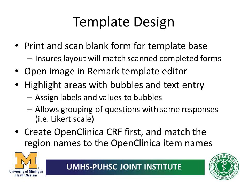 Template Design Print and scan blank form for template base