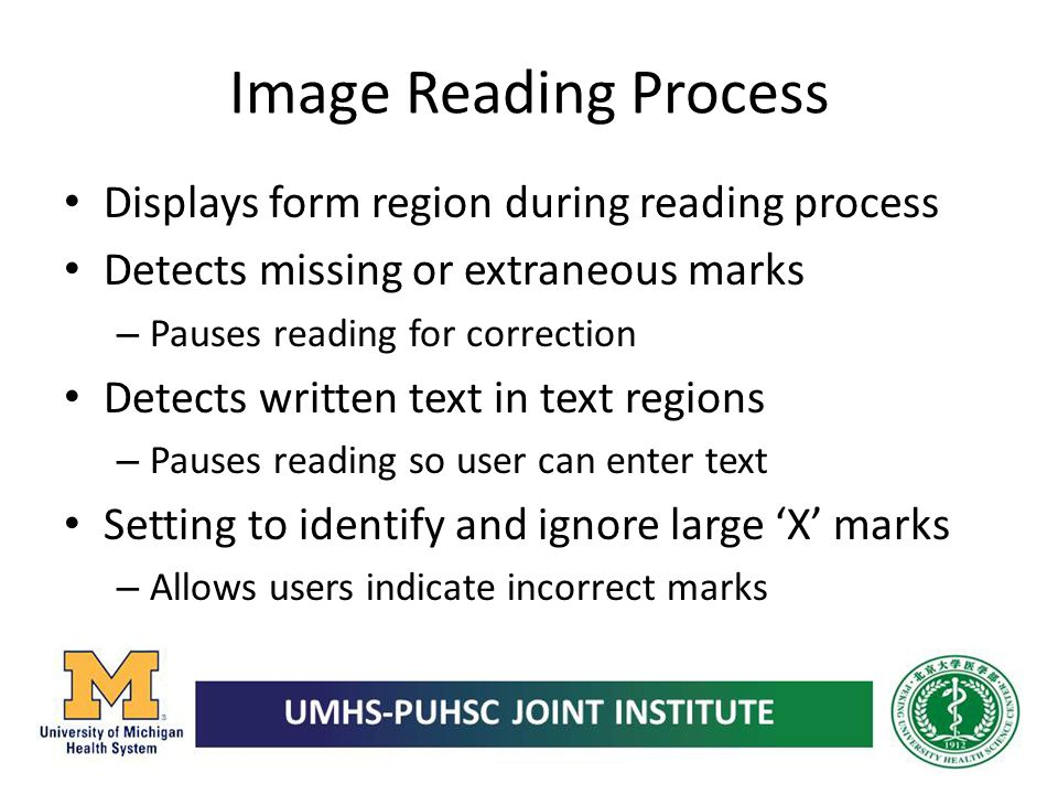 Image Reading Process Displays form region during reading process