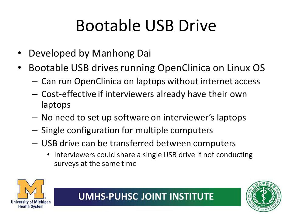 Bootable USB Drive Developed by Manhong Dai