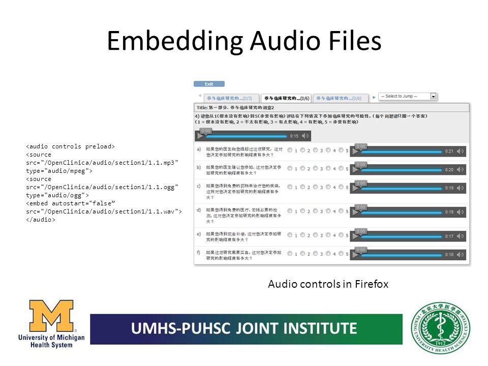 Embedding Audio Files Audio controls in Firefox