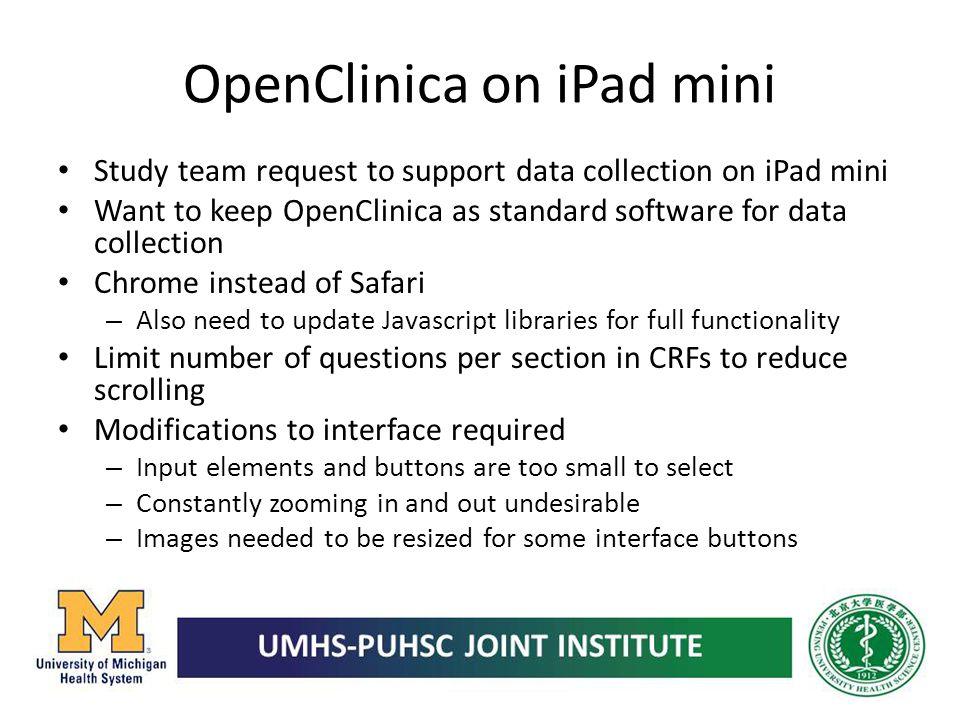 OpenClinica on iPad mini