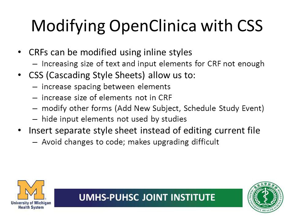 Modifying OpenClinica with CSS