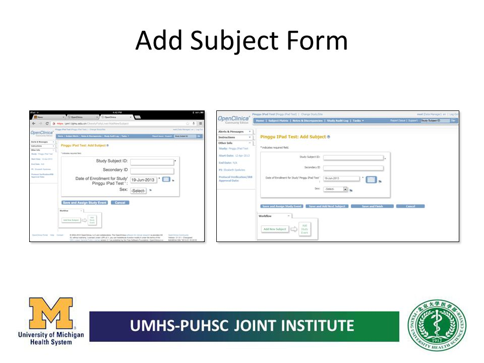 Add Subject Form
