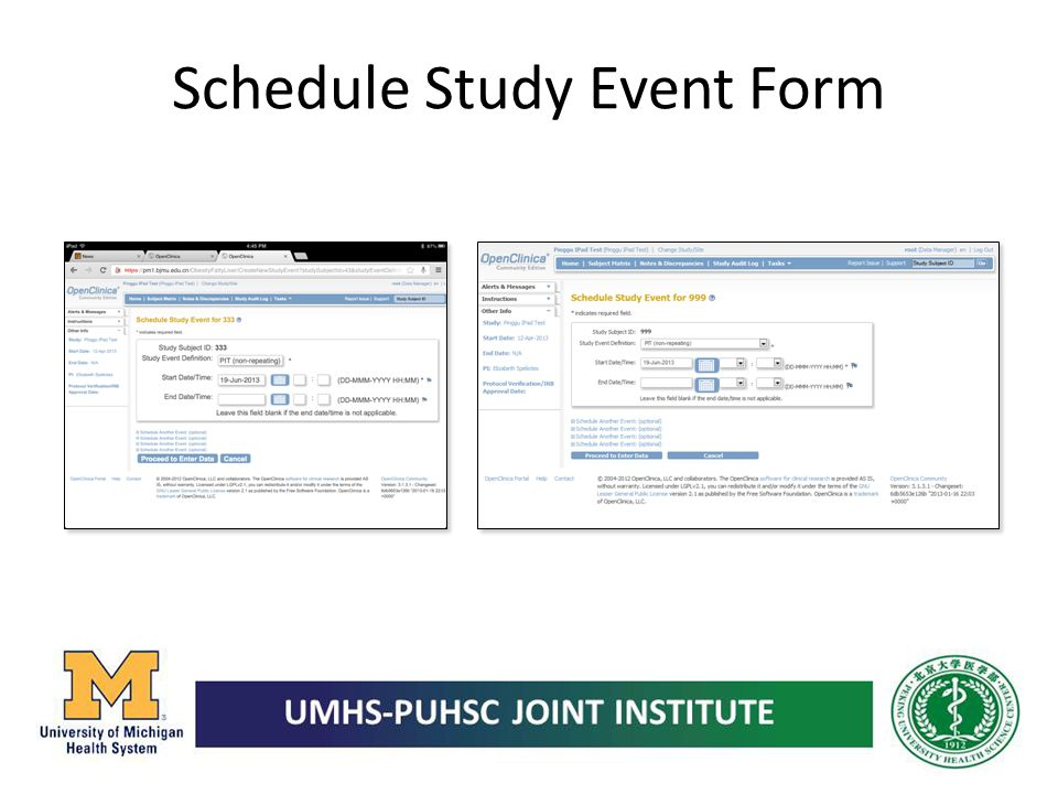 Schedule Study Event Form