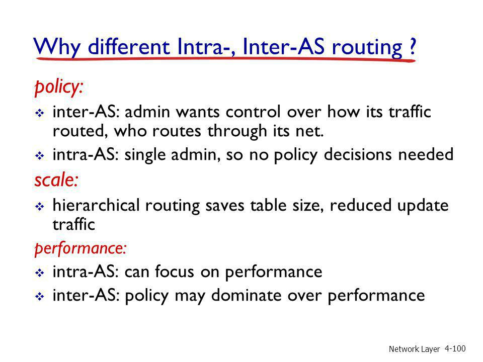 Why different Intra-, Inter-AS routing