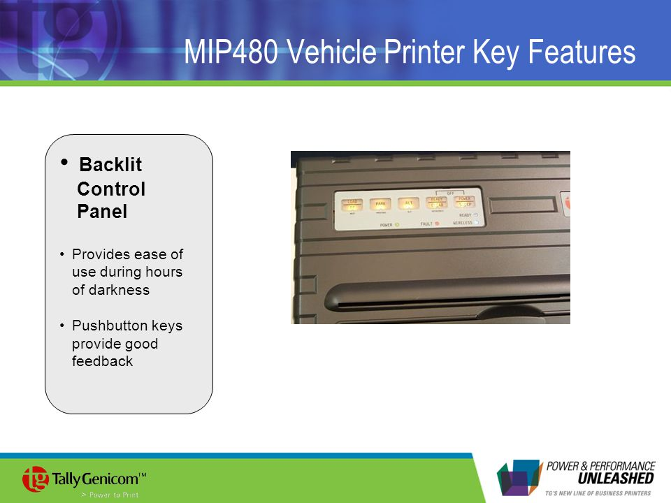 MIP480 Vehicle Printer Key Features