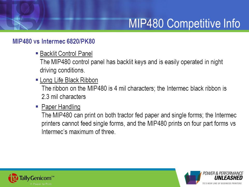 MIP480 Competitive Info MIP480 vs Intermec 6820/PK80