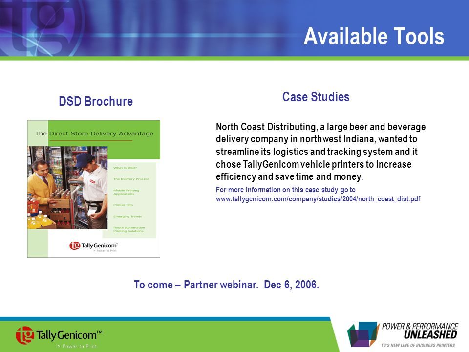 Available Tools Case Studies DSD Brochure