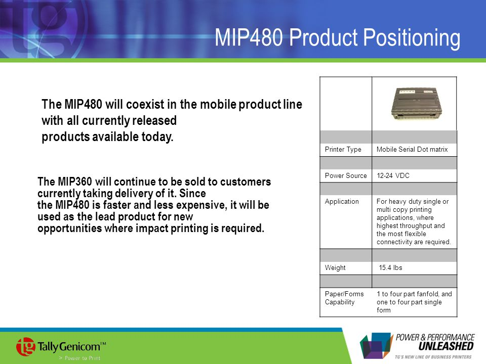MIP480 Product Positioning
