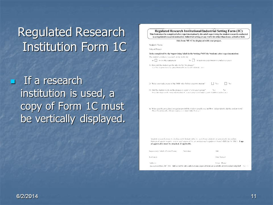 Regulated Research Institution Form 1C