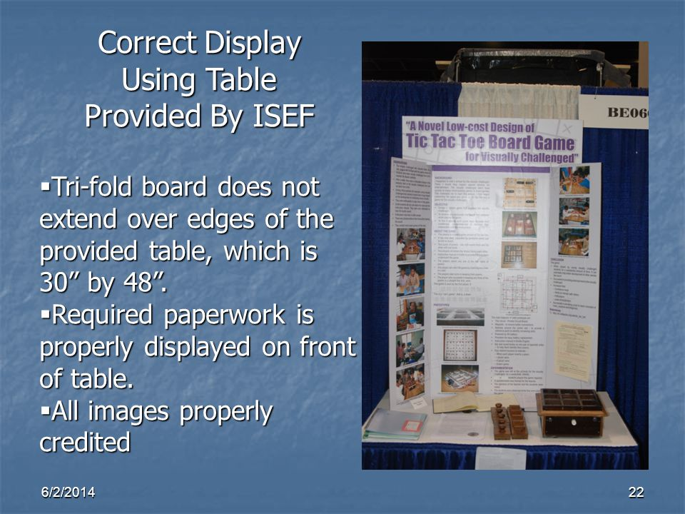 Correct Display Using Table Provided By ISEF