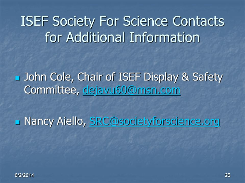 ISEF Society For Science Contacts for Additional Information