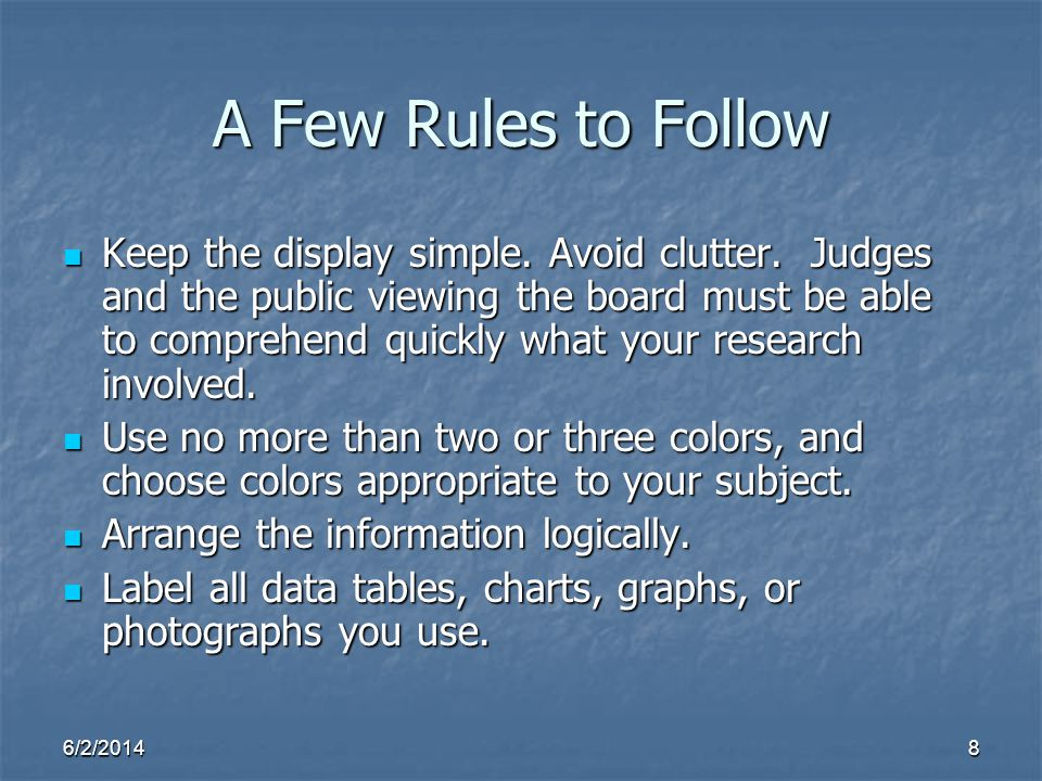A Few Rules to Follow