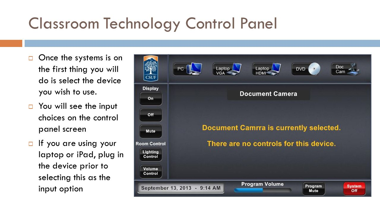 Classroom Technology Control Panel