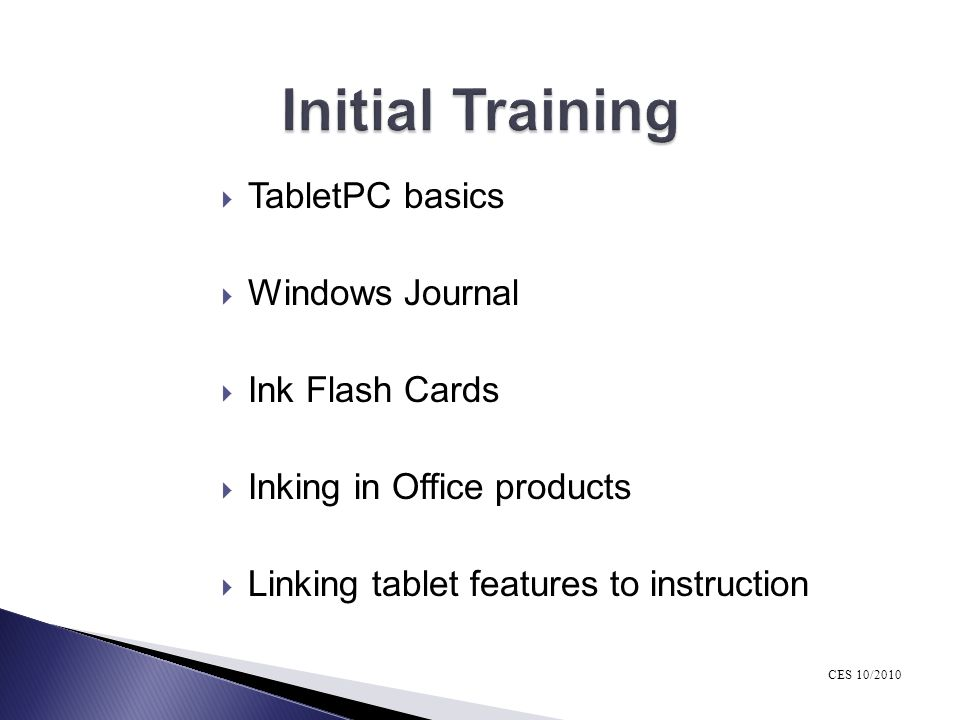 Initial Training TabletPC basics Windows Journal Ink Flash Cards