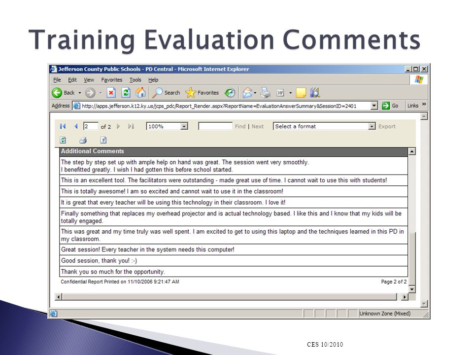 Training Evaluation Comments