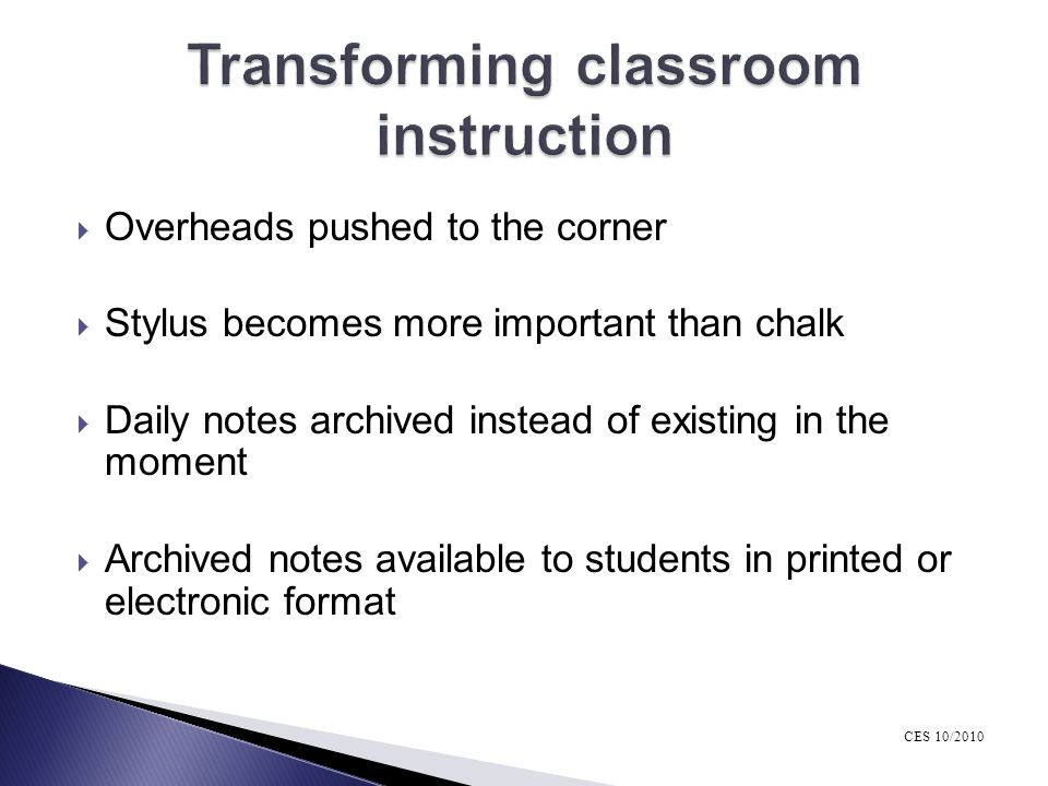 Transforming classroom instruction