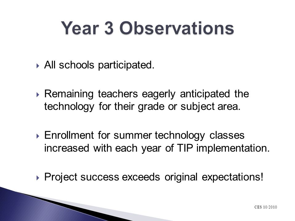 Year 3 Observations All schools participated.