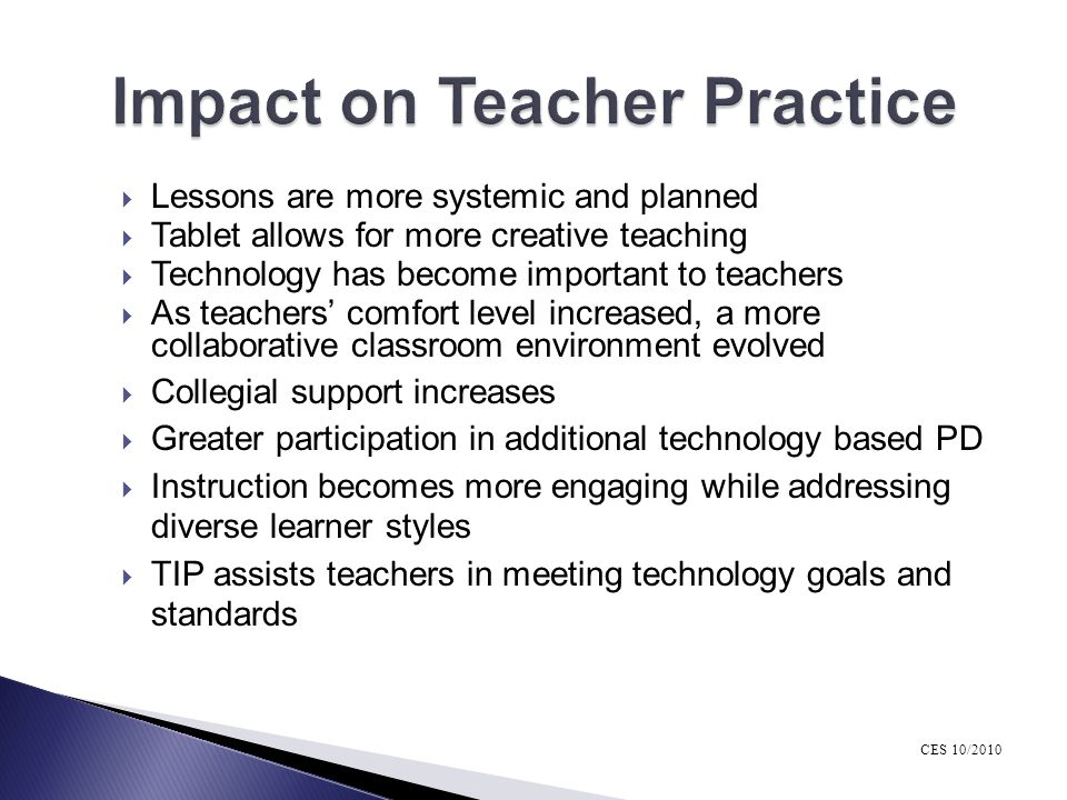 Impact on Teacher Practice