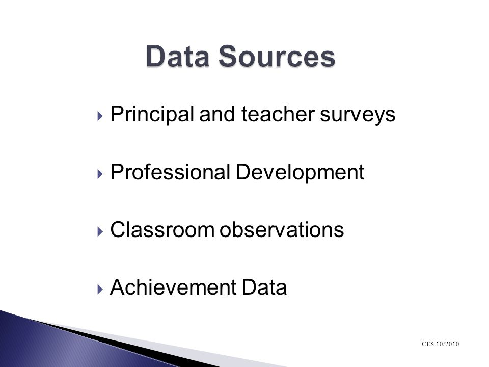 Data Sources Principal and teacher surveys Professional Development