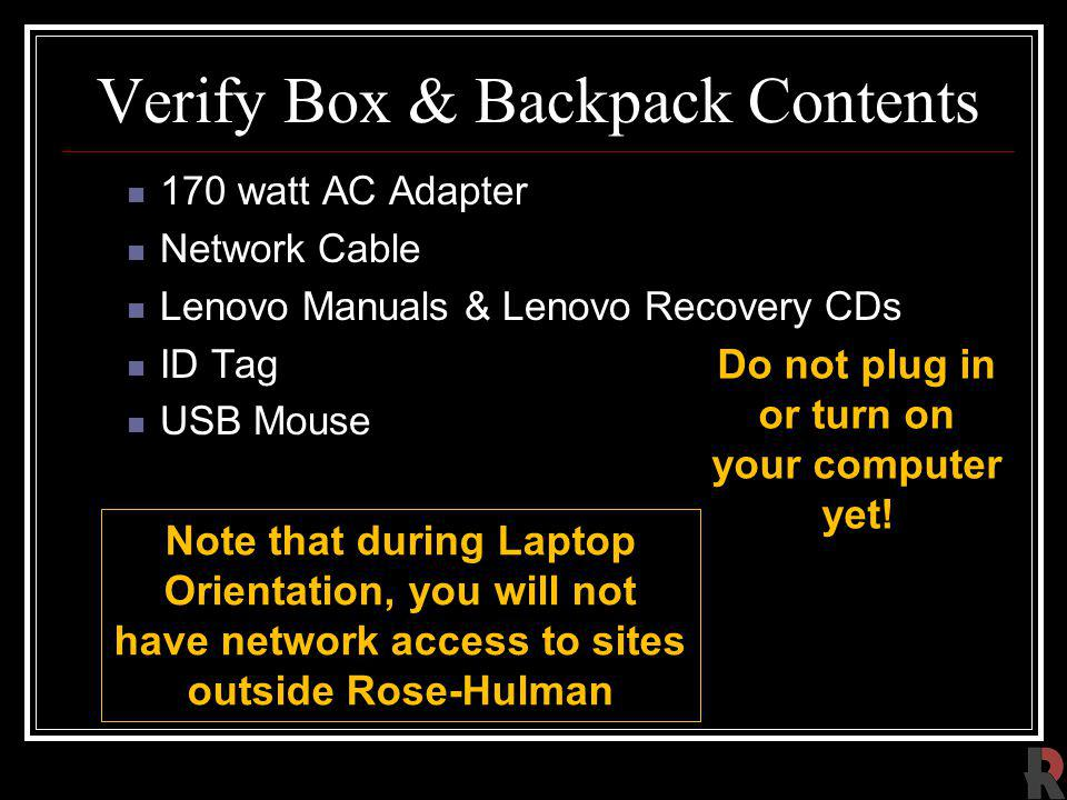 Verify Box & Backpack Contents