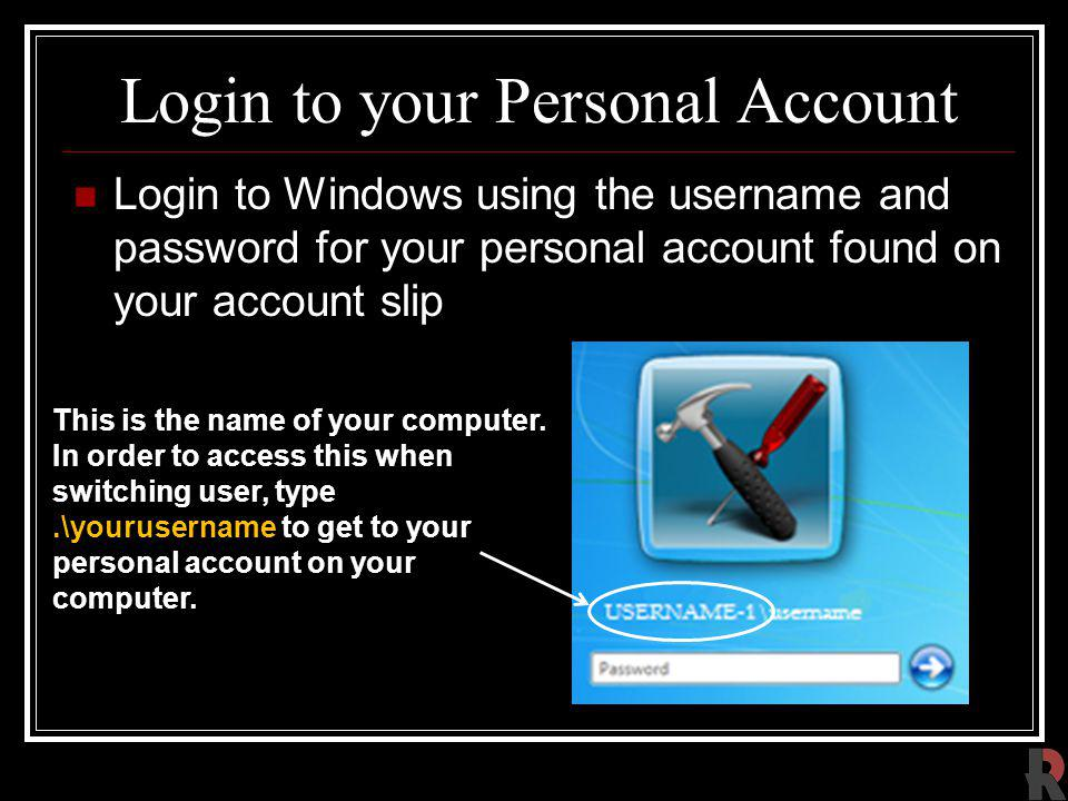 Login to your Personal Account