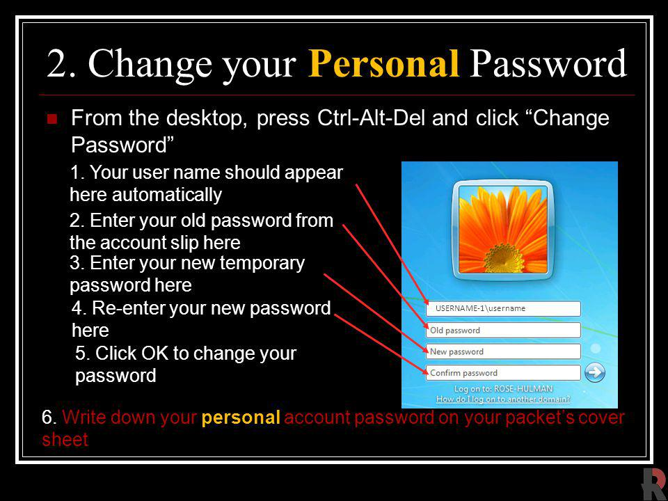 2. Change your Personal Password