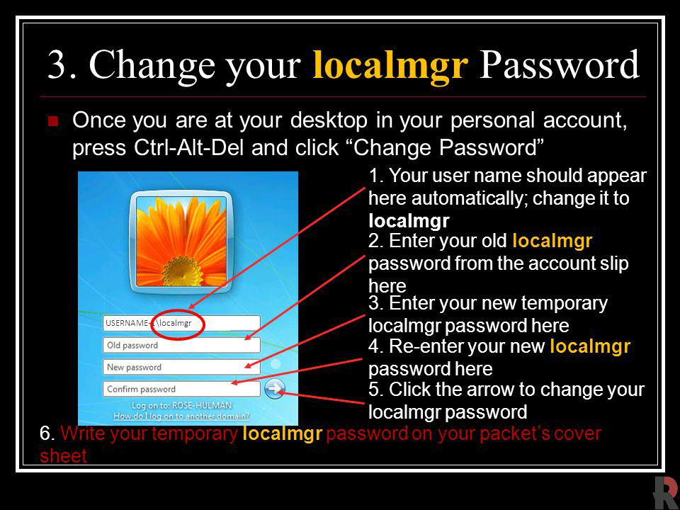 3. Change your localmgr Password
