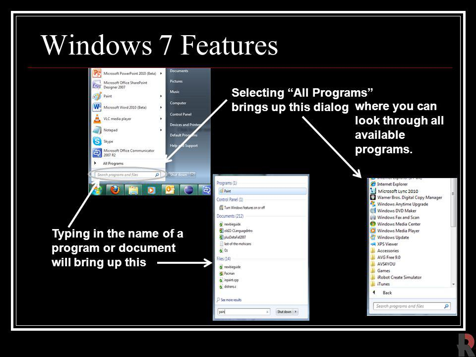 Windows 7 Features Selecting All Programs brings up this dialog