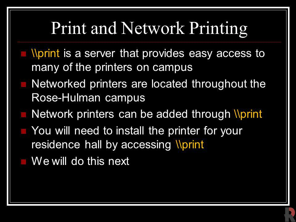 Print and Network Printing