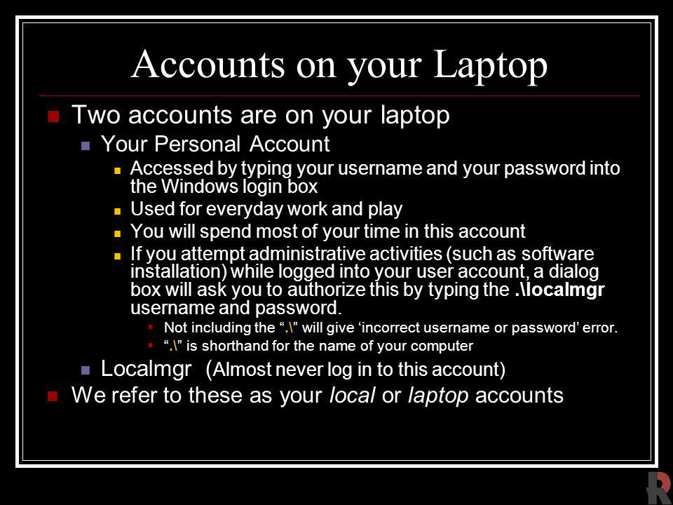 Accounts on your Laptop