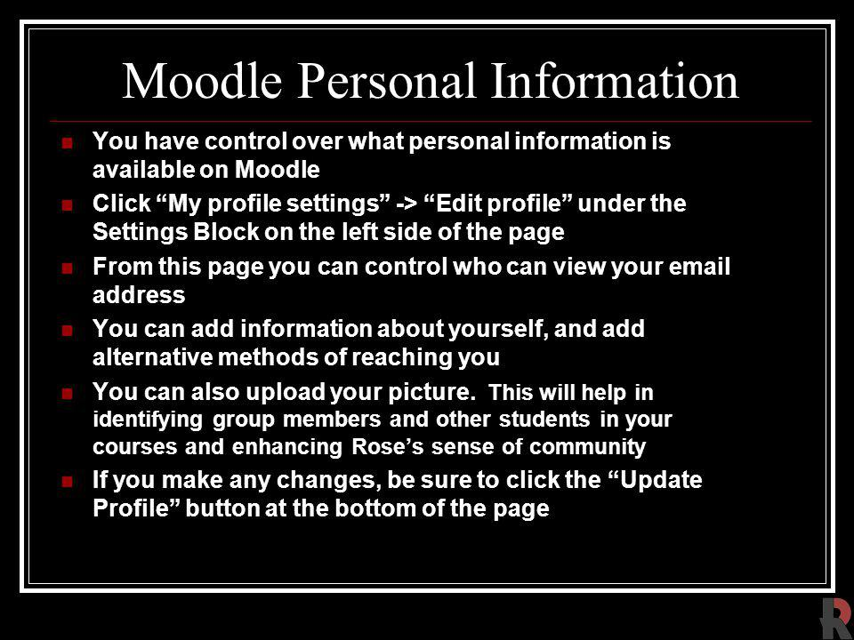 Moodle Personal Information